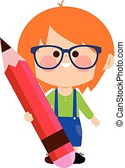 Child holding a big red pencil. Vector illustration