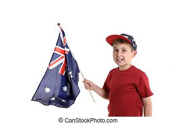 Child holding a flag