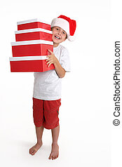 Child holding a stack of gift boxes