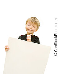 child holding blank sign and wishes good luck.