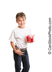 Child holding Christmas gift