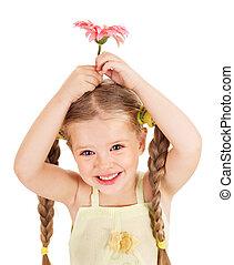 Child holding flower.