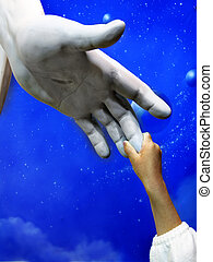 Child Holding Hand of Jesus Statue