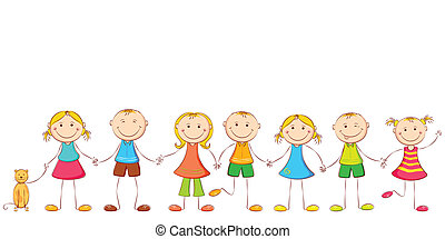 Child holding Hands - illustration of happy children holding...