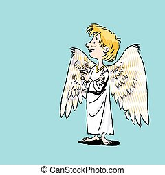 Child holding hands together Angelic boy with wings. Kid wearing long costume, smiling angel