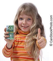 Child holding money.