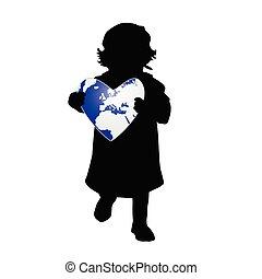 child holding planet earth illustration