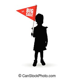 child holding red flag for big sale illustration