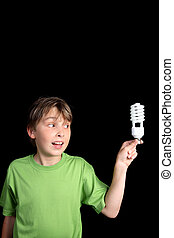 Child holds a compact fluorescent globe