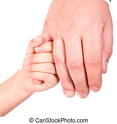 child holds father hand