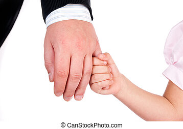 child holds his father's hand isolated on a white background