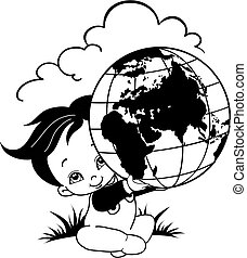 child holds the globe in his hands, stylized drawing, isolated object on a white background, vector illustration,