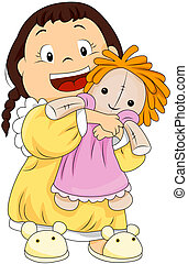 Child hugging her doll with Clipping Path