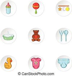 Child icons set, cartoon style