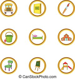 Child icons set, cartoon style
