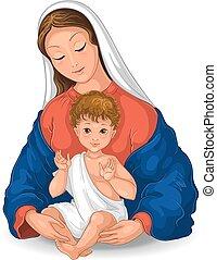 child., illustration, marie, bébé, vecteur, blanc, dessin animé, béni, fond, isolé, madone, vierge, jésus