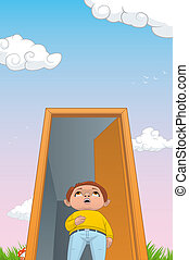 Child in a magic door to a fantastic world