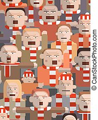 Child in an angry crowd - Vector illustration of an...