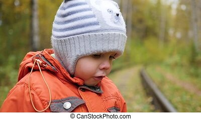 Child in autumn Park having fun playing, Walks in the fresh...