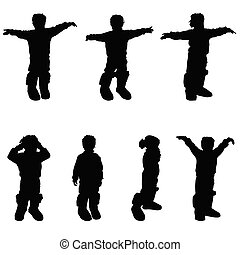 child in boots silhouette vector