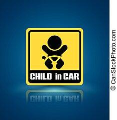Child in car banner.