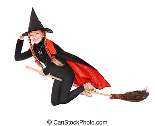 Child in costume Halloween witch fly on broom. - Little girl...
