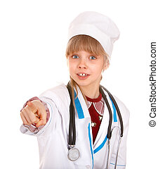 Child in costume of doctor.