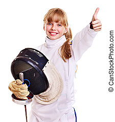 Child in fencing costume holding epee . - Child in fencing ...