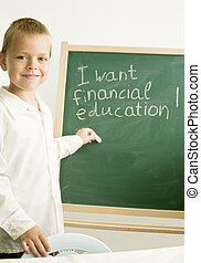 child in front of chalkboard/financial education