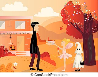 Child in ghost costume on helloween playing trick or treat
