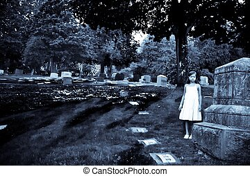Child in Graveyard - Black and white photo, of young child...