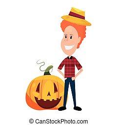 child in halloween character costume vector illustration