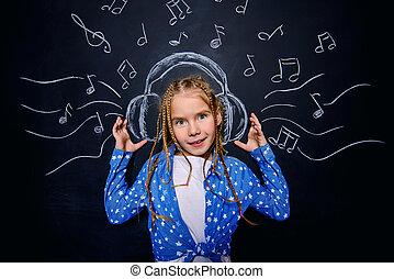 child in headphones