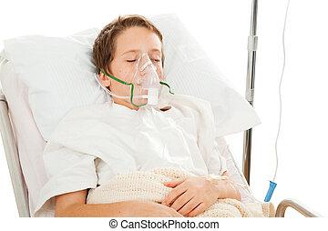 Child in Hospital - Little boy in the hospital breathing ...