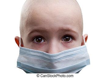 Child in medicine mask - Flu illness child boy in medicine...