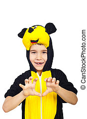 Child in mouse costume - Child with toothless posing in...