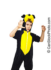 Child in mouse costume playing