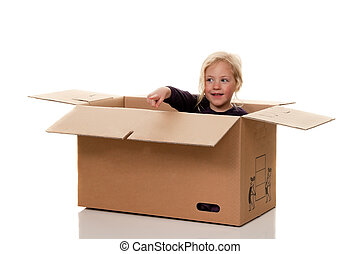 child in moving box. is to move into ducts