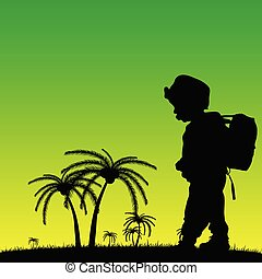 child in nature illustration silhouette