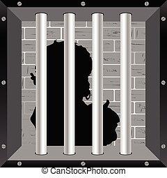 child in prision silhouette illustration