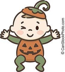Child in pumpkin suit on white background