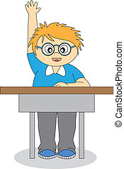 child in school. Back to school. Vector isolated white...