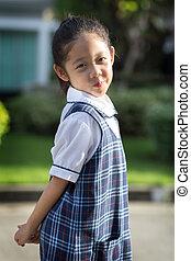 Child in School Uniform - Portrait of Asian child in school...