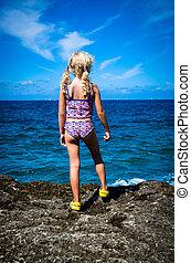 child in seashore