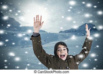 child in snowy landscape