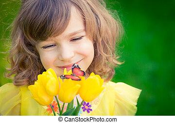Child in spring park
