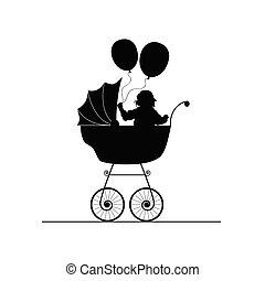 child in stroller illustration