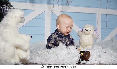 Child in studio with artificial snow
