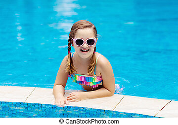 Child in swimming pool summer vacation with kids child - Swimming pool girl christmas vacation ...
