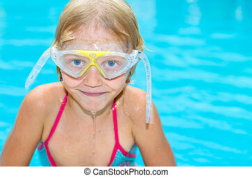 child in the swimming pool